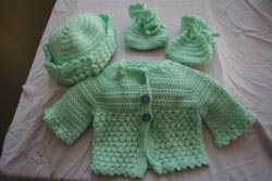 baby girl sweater, hat, booties - all hand-made